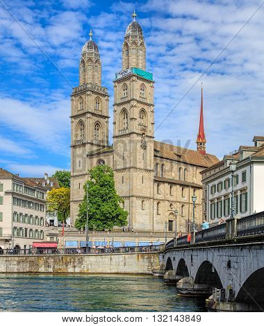 Zurich, Switzerland - 26 May, 2016: towers of the Grossmunster cathedral with the
