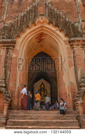Bagan Myanmar - April 22 2016 : Dahmmayan Gyi Phaya in Bagan Myanmar