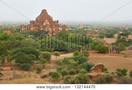 Bagan Myanmar - April 22 2016 : Group of ancient pagodas in Bagan at Sunset