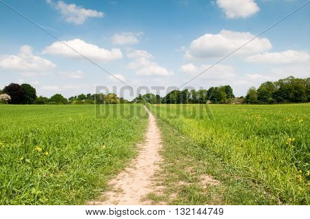 Low angle view of a country footpath through a field