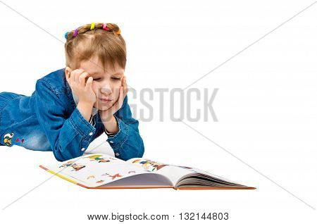 girl looks image open book and sad. the child is tired. isolated