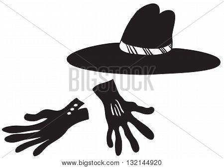 Illustration of cartoon black hat and gloves