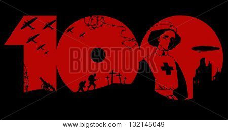 World War One centennial graphic design, EPS8 vector illustration