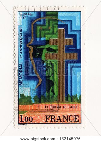 FRANCE - CIRCA 1977: A stamp printed in France dedicated to Charles de Gaulle circa 1977