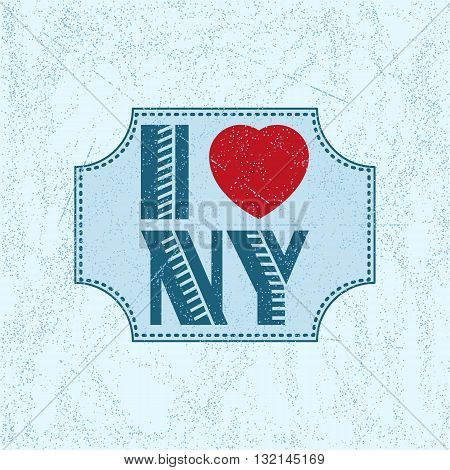 Print with lettering I love New York in retro style on blue background with scattering and fading. Pattern for fabric textiles clothing shirts t-shirts. Vector illustration