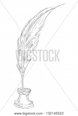 Illustration contours of pen and inkwell isolated on white background