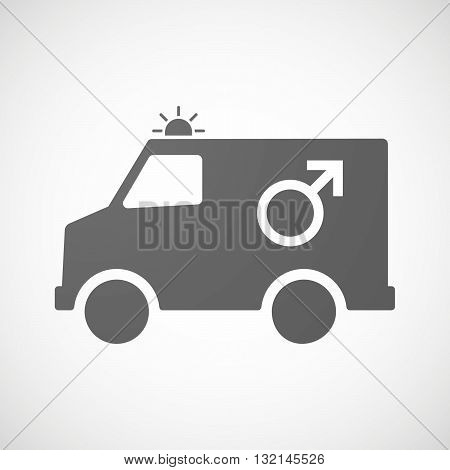 Isolated Ambulance Icon With A Male Sign