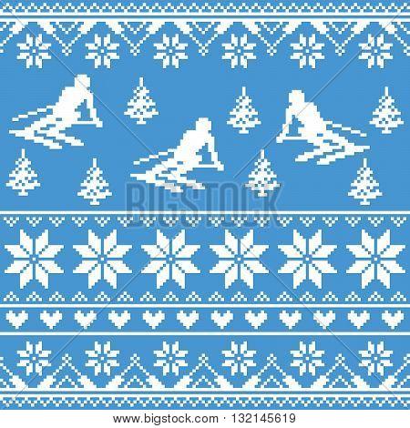 Winter knit pattern - man skiing on blue background