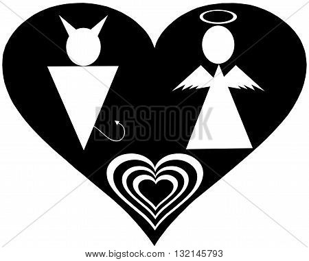 Pictogram Angel and Devil Icon Symbol Sign. Angel and Devil icons, minimal style, pictogram. Heart icon, love icon. Man and woman sign.