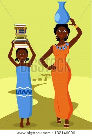 African girl going to school with a stack of books on her head, woman with a pitcher walking at her side