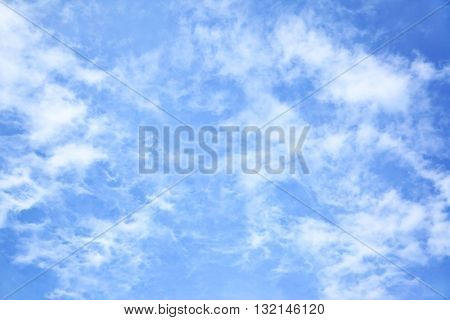 Blue sky with light fleecy clouds, may be used as background