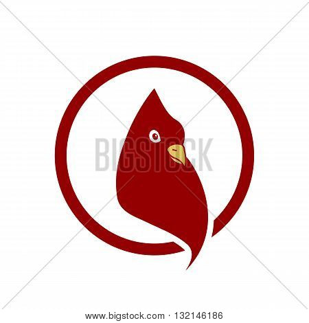 Stylized red pigeon head inside circle vector illustration isolated on white background.