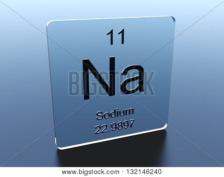 Sodium symbol on a blue glass square 3D render