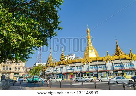 Yangon Myanmar - April 26 2016 : The Sule Pagoda in Yangon is centrally located in Yangon as a religious and historic site.