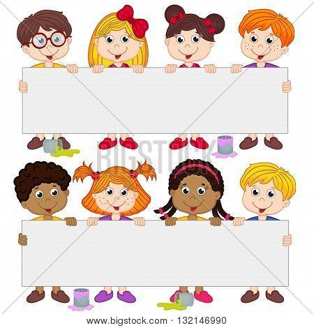 children holding blank paper - vector illustration, eps