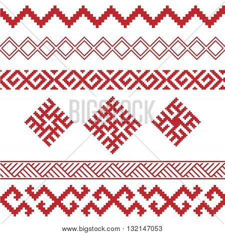 slavic ornaments patterns vector set, monochrome on transparent background, traditional ethnic ornamental elements