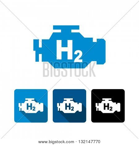 Hydrogen Car Engine Vector Icon