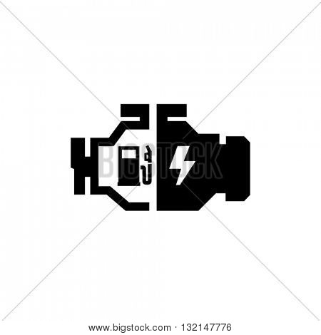 Hybrid Car Engine Vector Icon