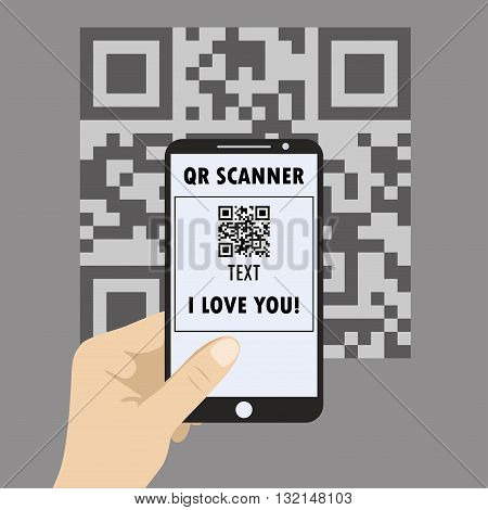 Hand Holding MobileSmartphone concept with a qr code scanning