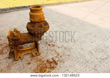 Old sewage pump and rust corrosion, Pumping.