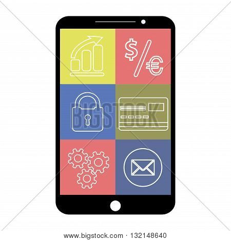 Smartphone with flat app icons on white background vector illustration