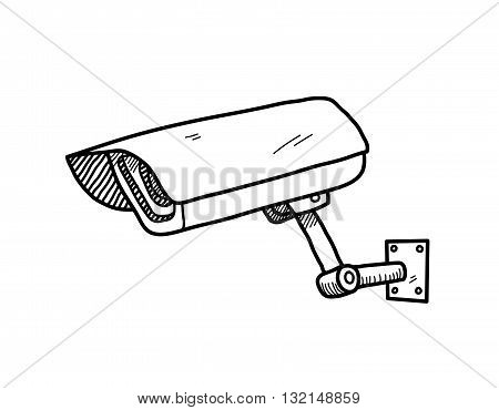 CCTV Camera, a hand drawn vector doodle illustration of a CCTV camera.