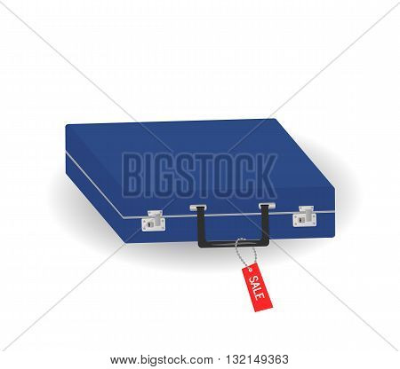 The blue suitcase.Vector illutrate box burden realistic label
