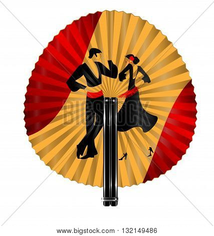 red yellow fan with image of flamenco dancers