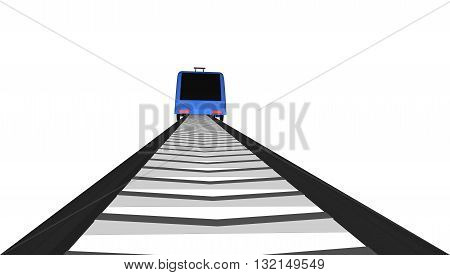 Vector blue Fast train on white background