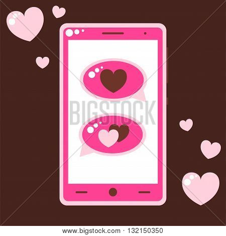 Pink Mobile Phone With Love Messages