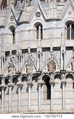 PISA, ITALY - JUNE 06, 2015: Saints, Baptistery decoration architrave arches, Cathedral in Pisa, Italy. Unesco World Heritage Site, on June 06, 2015