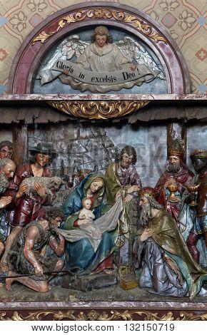 STITAR, CROATIA - AUGUST 27: Nativity Scene, altarpiece in the church of Saint Matthew in Stitar, Croatia on August 27, 2015