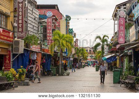 Pedestrian Avenue In Little India, Kuching, Borneo, Malaysia