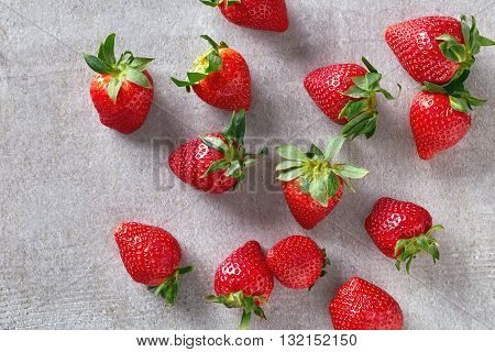 Ripe Strawberry On Stone Table. From Above