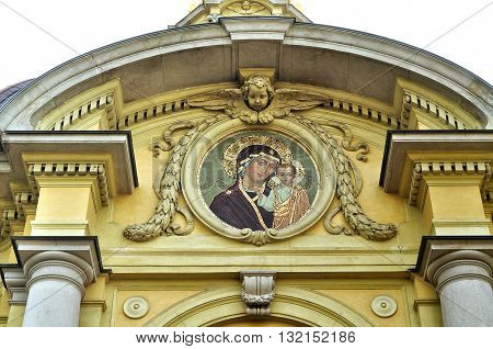 SAINT PETERSBURG RUSSIA - MAY 27 2016. Our Lady of Kazan on the facade of Grand Ducal Burial Vault Imperial house of Romanov located inside the Peter and Paul Fortress St Petersburg Russia