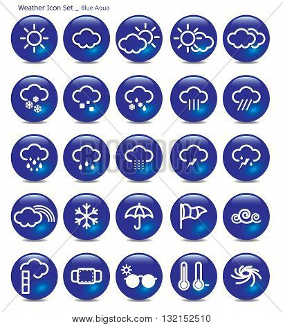 Vector Illustration icon set- weather blue aqua