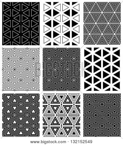 Triangles and hexagons patterns. Seamless geometric textures set. Vector art.