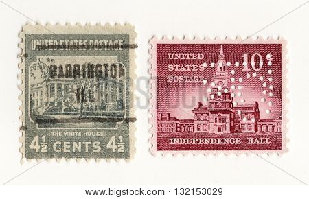 USA - CIRCA 1950: A stamps printed in USA shows image of the dedicated to the Independence Hall and White House