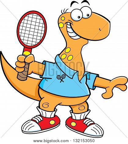 Cartoon illustration of a brontosaurus playing tennis.