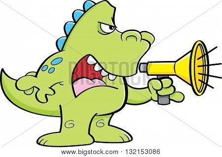 Cartoon illustration of a dinosaur shouting into a megaphone.