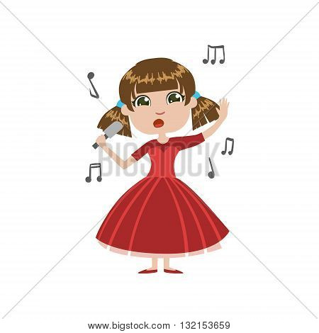 Girl Future Singer Simple Design Illustration In Cute Fun Cartoon Style Isolated On White Background