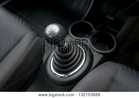 Car interior. manual transmission gear shift. car, gear, stick, move, manual,