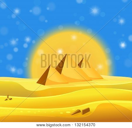 Cartoon Egyptian Pyramids In The Desert With Blue Shiny Sky. Vector Illustration
