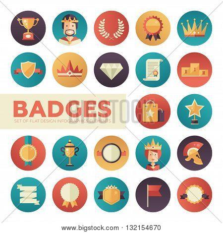 Modern vector flat design merit awards icons set. Decorative elements - ribbon, cup, medal, certificate, badge, crown, laurels