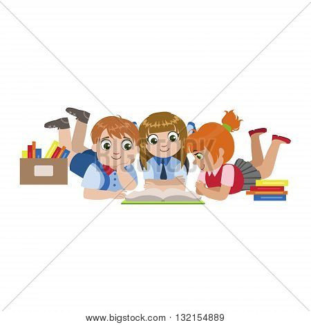 Kids Laying On The Floor Reading Colorful Simple Design Vector Drawing Isolated On White Background