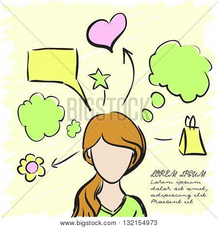 Silhouette of a beautiful girl with thoughts about everything. Vector illustration