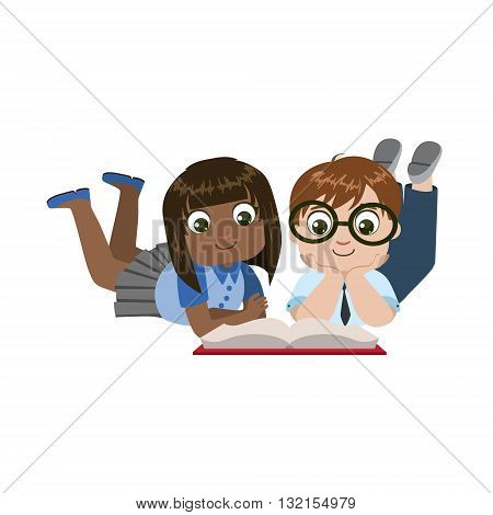 Boy And Girl Laying On The Floor Reading Colorful Simple Design Vector Drawing Isolated On White Background