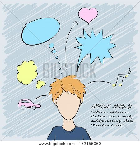 Silhouette of a beautiful boy with thoughts about everything. Vector illustration