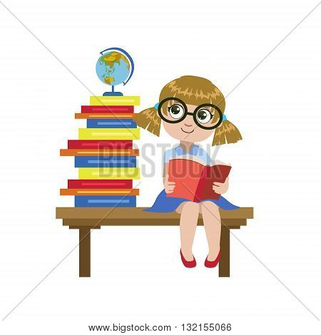 Girl Sitting On The Desk Reading A Book Colorful Simple Design Vector Drawing Isolated On White Background