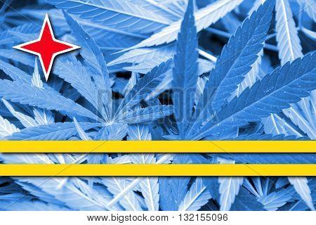 Flag of Aruba on cannabis background. Drug policy. Legalization of marijuana